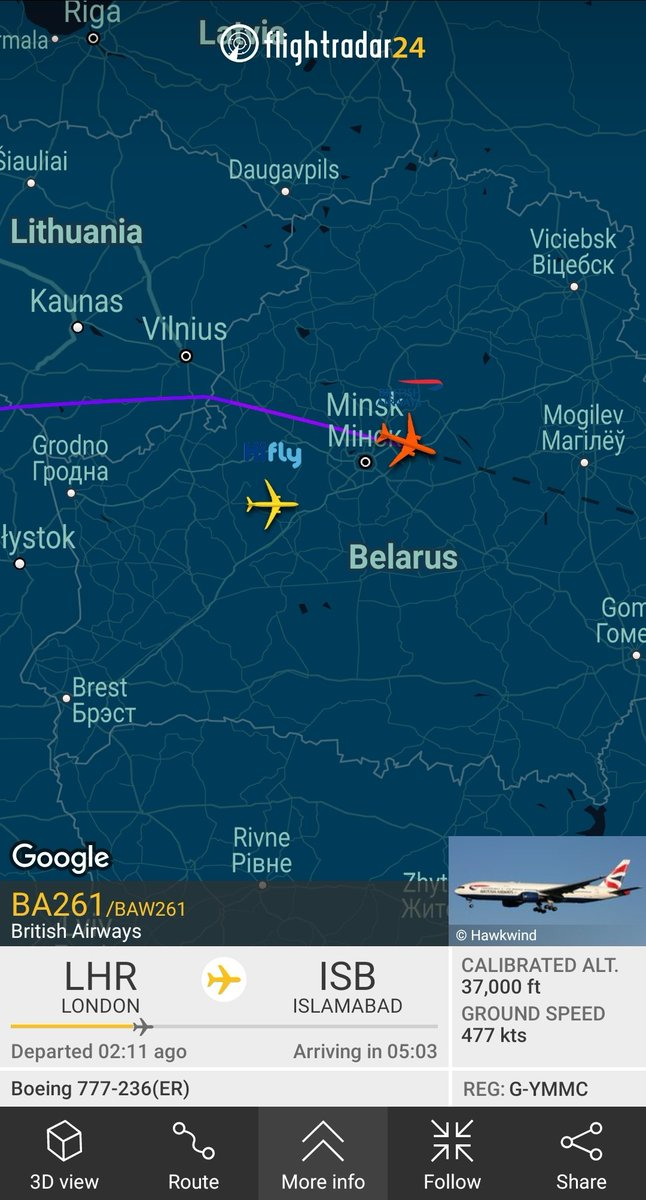Islamabad: British Airways 🇬🇧 B777 and HiFly A330neo ki baraat araye hai. Due into Islamabad, Pakistan in about five hours. Let's see which one lands first again guys! 🏁  PC: Flightradar24 #aviation #planespotting #avgeek #planespotters #turkishairlines
