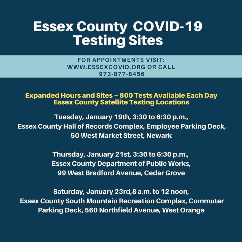 Information about upcoming COVID testing sites in Essex and Passaic counties: