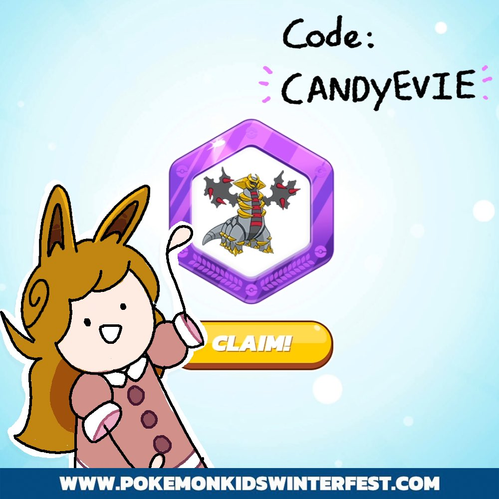 """Pokémon gave me a special code for you guys to use in the new game, Pokémon Kids Winter Fest! If you use the code """"CANDYEVIE"""" you can get a neat Giratina badge✨#PokemonWinterFest @PokemonNewsUK #ad"""