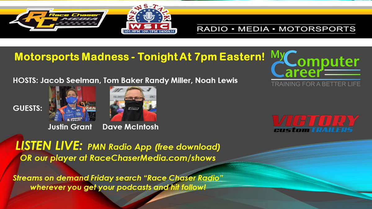 🚨TUNE IN TONIGHT 7pm ET!🚨  #MotorsportsMadness powered by @mycompcareer goes live with #ChiliBowl2021 personalities @JustinGrant40 and team owner @Mac08David plus the latest from the newswire.  LISTEN LIVE on @PMNradio app OR the player at ! #NASCAR