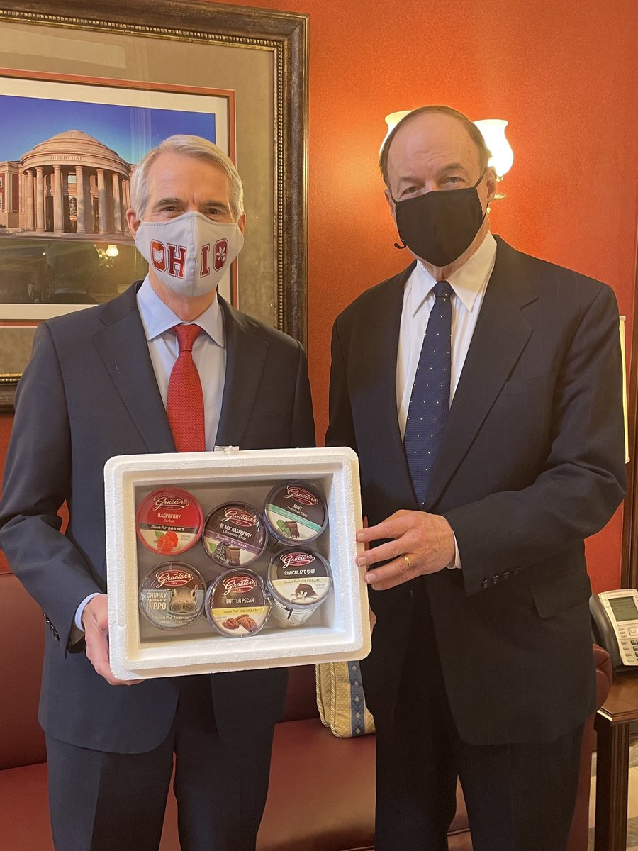 Last week @SenRobPortman and I made a friendly wager ahead of the Alabama-Ohio State #NationalChampionship game. On the line was some ribs from Alabama's @DreamlandBBQ & a few pints of Ohio's @graeters ice cream. Looking forward to enjoying some ice cream. Roll Tide! @AlabamaFTBL