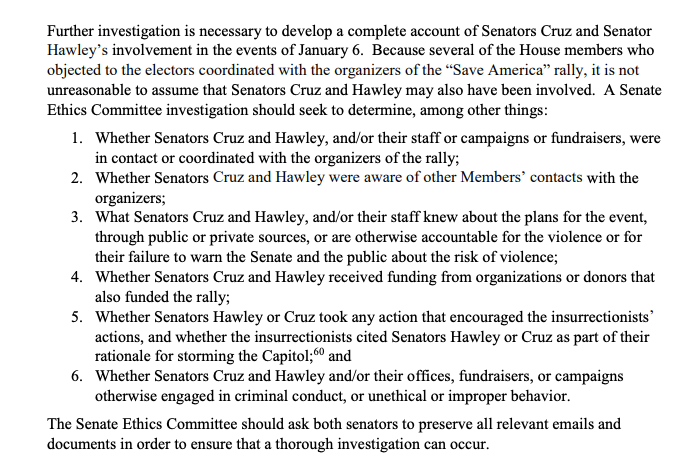 """JUST IN: 7 Senate Democrats file ethics complaint """"concerning the behavior of Sens. Cruz and Hawley related to the deadly insurrection at the U.S. Capitol on Jan. 6.""""  Sens. Whitehouse, Wyden, Smith, Blumenthal, Hirono, Kaine and Brown sent the complaint to the Senate Ethics Cmte"""
