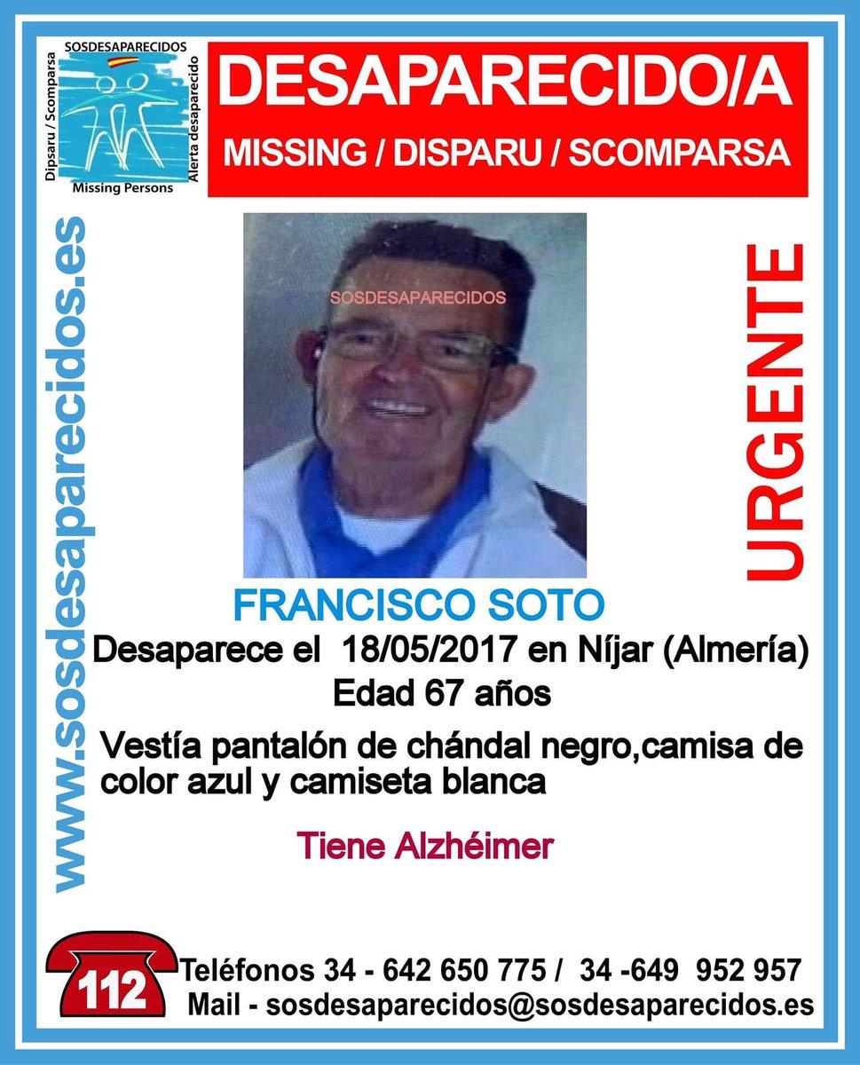 #TeBuscamos Francisco Soto, 67 años, 18/5/17 #Almería #España #112