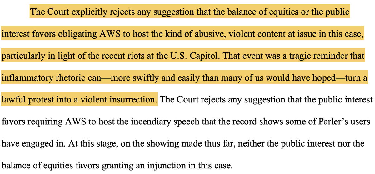 So far, Parler's lawsuit against Amazon has not impressed federal Judge Barbara Rothstein.  Judge Rothstein today denied Parler's request for a preliminary injunction forcing Amazon to again host Parler, and in doing so she referenced the Jan. 6 attack on the US Capitol: https://t.co/eKPC6mR29X