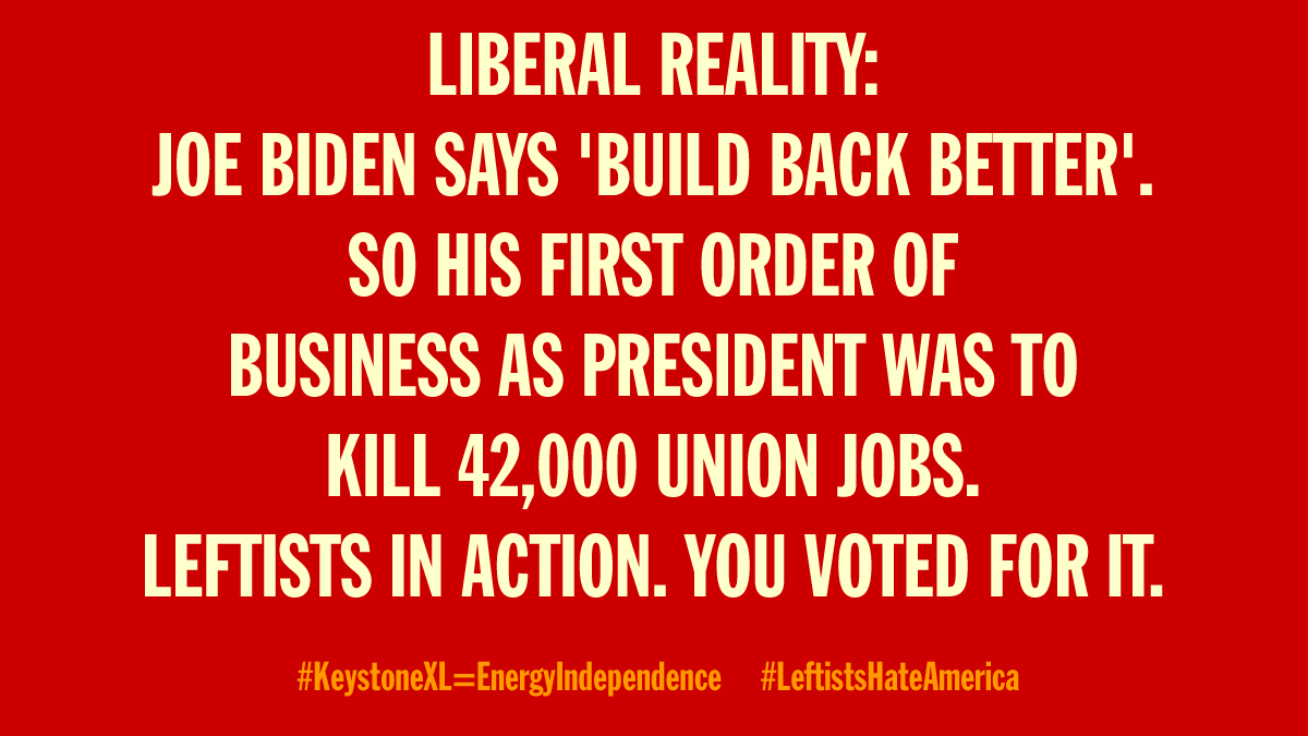Can't make this up..... #KeystoneXL #TwitterIsOverParty #BidenErasedWomen #Biden #unemployment #RecoveryPlan #COVID19