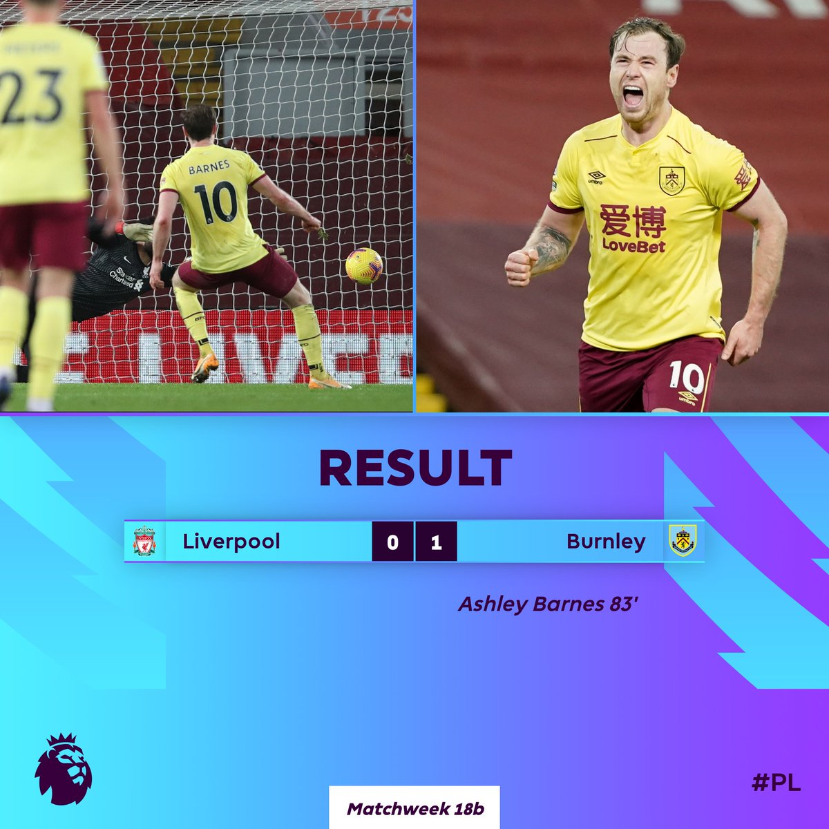 A 𝙗𝙞𝙜 win on the road for Burnley ends Liverpool's unbeaten home run  #LIVBUR