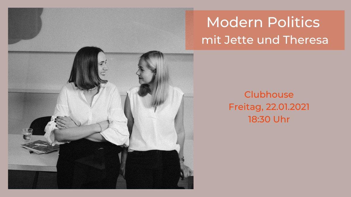 Morgen um 18:30 Uhr sind wir auf #Clubhouse. Wir sprechen über Trends in der politischen Kommunikation und unsere Werdegänge! Freuen uns auf die Diskussion mit euch! #ModernPolitics #Politics