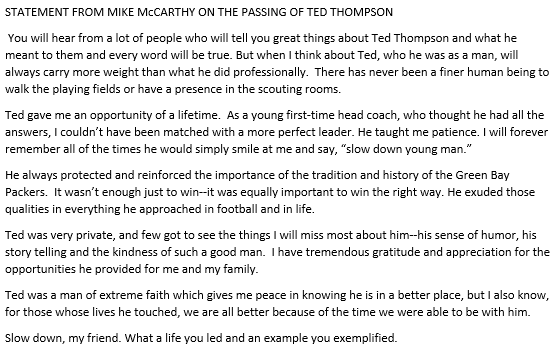 """Cowboys released a statement from coach Mike McCarthy following the death of former Packers GM Ted Thompson. McCarthy: """"There has never been a finer human being to walk the playing fields or have a presence in the scouting rooms."""""""
