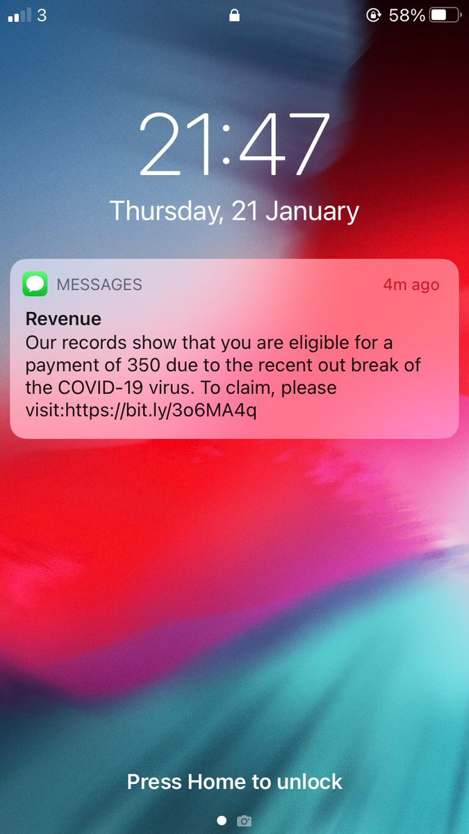 """I just received a message from """"revenue"""". A new scam designed to get your bank details #becareful #scam #revenue"""