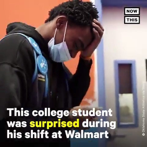This college athlete picked up a job at Walmart working 40 hours a week after his mom lost her job — then his coach surprised him with a basketball scholarship❤️