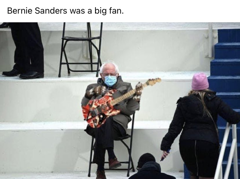 Best one yet. Bernie waiting for his solo. #evh
