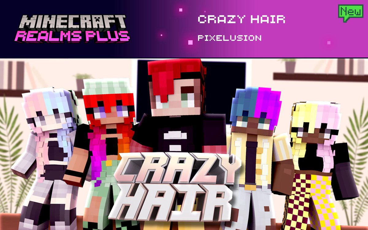 Bored with the classic look? Adopt a whole new style by giving your hair a bit of a buzz! Big volume, flashy colors, you'll definitely be seen from afar! Change it up with Crazy Hair by @PixelusionMC. Find it now in Realms Plus!  💈