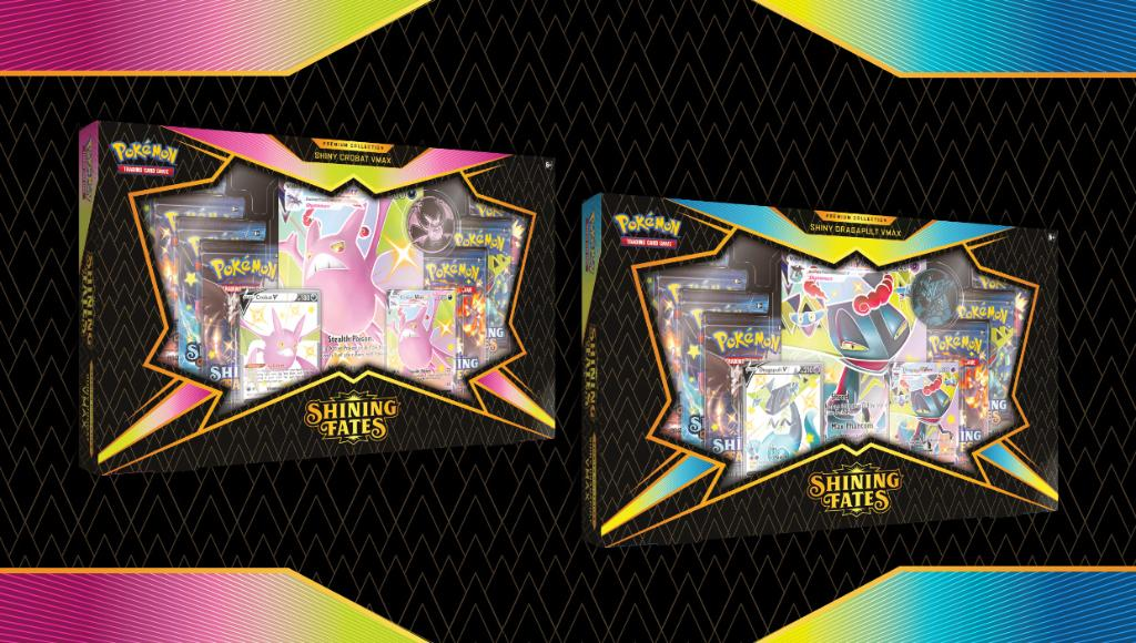 Find Shiny Pokémon in the #PokemonTCG: Shining Fates Premium Collections!  Each set includes etched promo cards featuring Crobat VMAX or Dragapult VMAX, plus 7 booster packs and a metallic coin!  Keep watch, Trainers—these sets will be available 3/5: