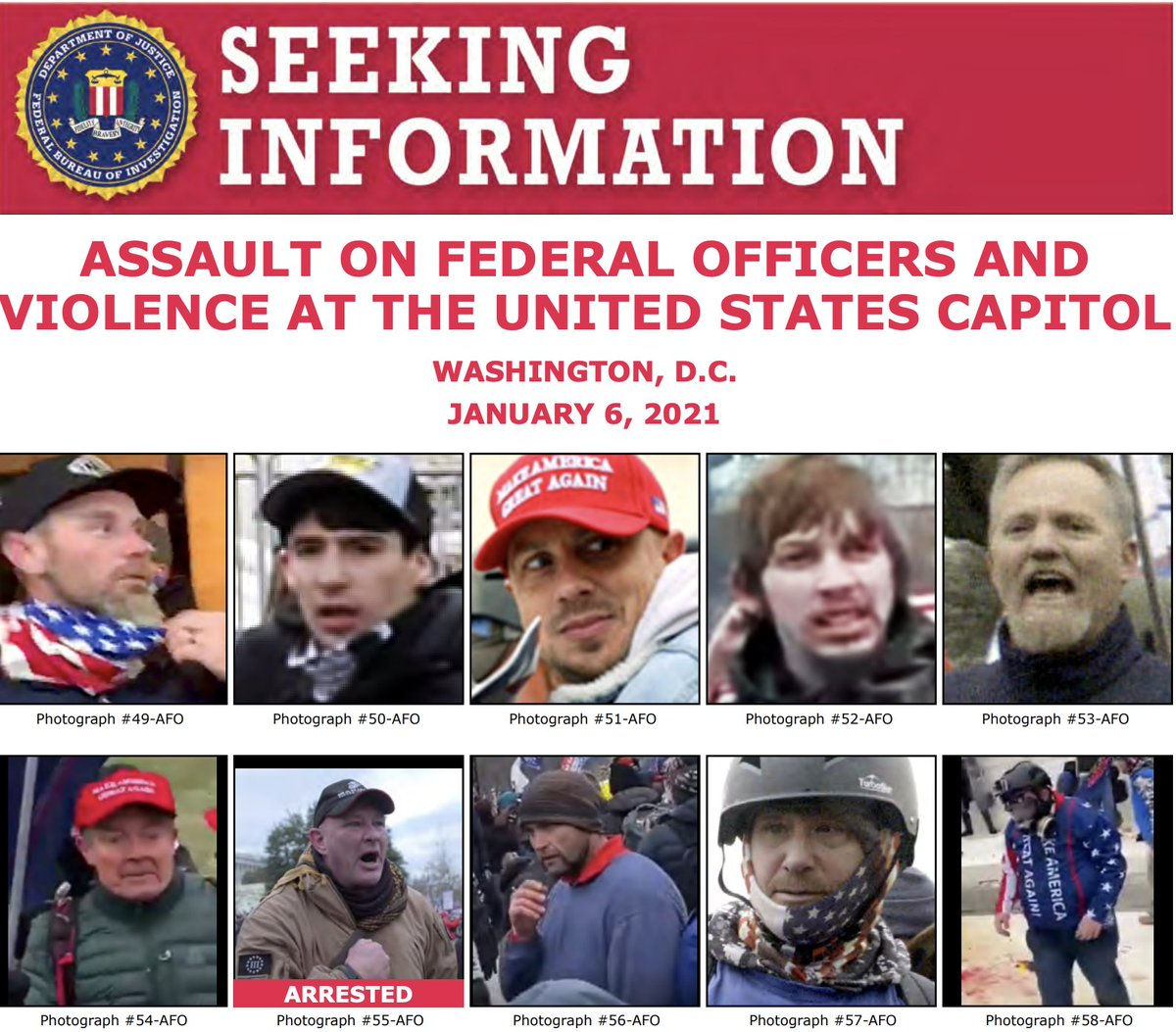 The #FBI has updated some of our seeking information posters with better photos of unidentified individuals. If you have a tip related to the violence at the U.S. Capitol on January 6, submit it to . @FBIWFO