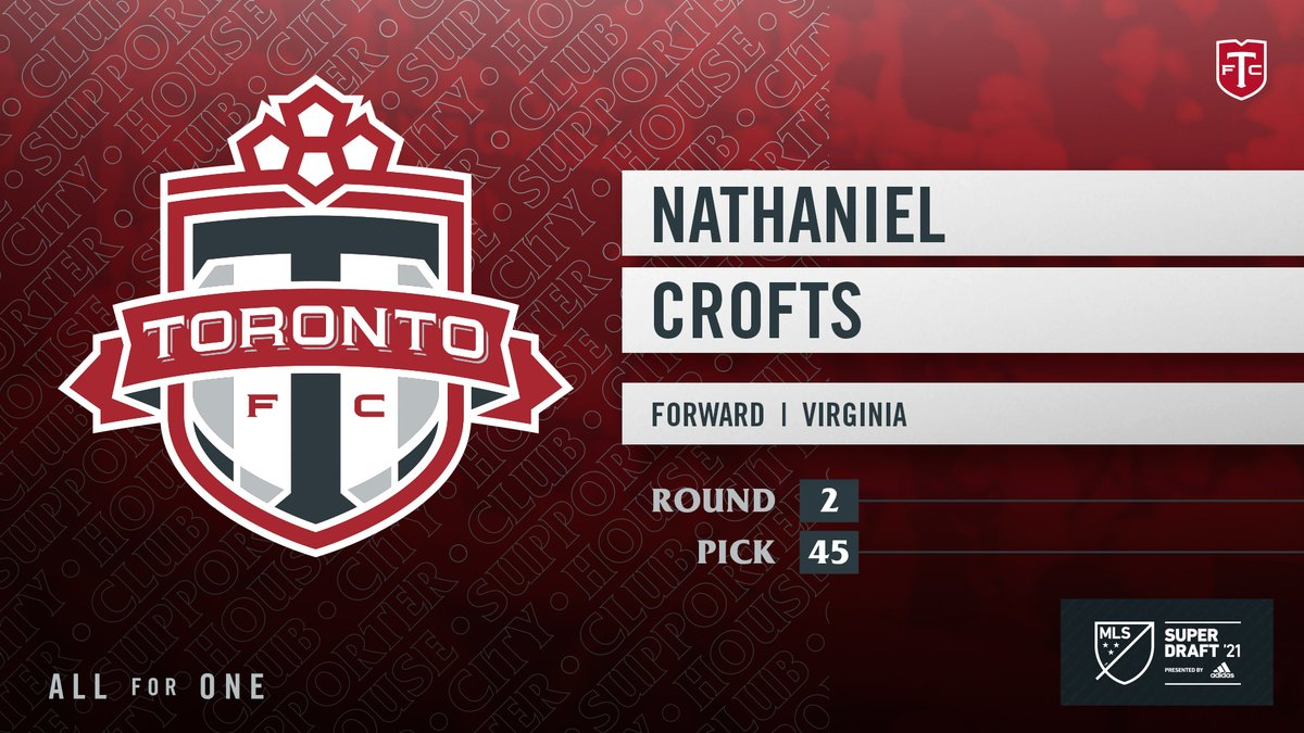 With the 45th pick of the 2021 MLS #SuperDraft, the Reds select Nathaniel Crofts from @UVAMenSoccer. #TFCLive