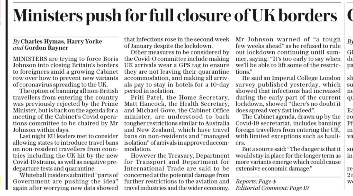 TELEGRAPH FRONT: Ministers push for full closure of UK borders #TomorrowsPapersToday