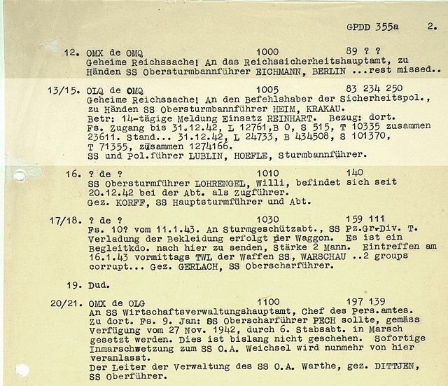 "British codebreakers at Bletchley Park have deciphered an intercepted message to Himmler, head of the SS: the ""Höfle telegram"" contains detailed statistics on number of Jewish victims killed in 4 Nazi concentration camps last year. 1,274,166 people were murdered. https://t.co/qnJU6kyCJ6"