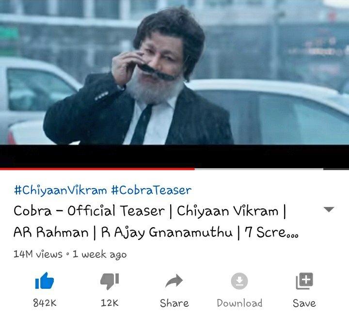 14 Million Views!💥 With 842K+Likes !💥 We will Make it 850K likes today💚 #Cobra  #CobraTeaser14MillionViews #ChiyaanVikram  @ajaygnanamuthu  Link👇👇