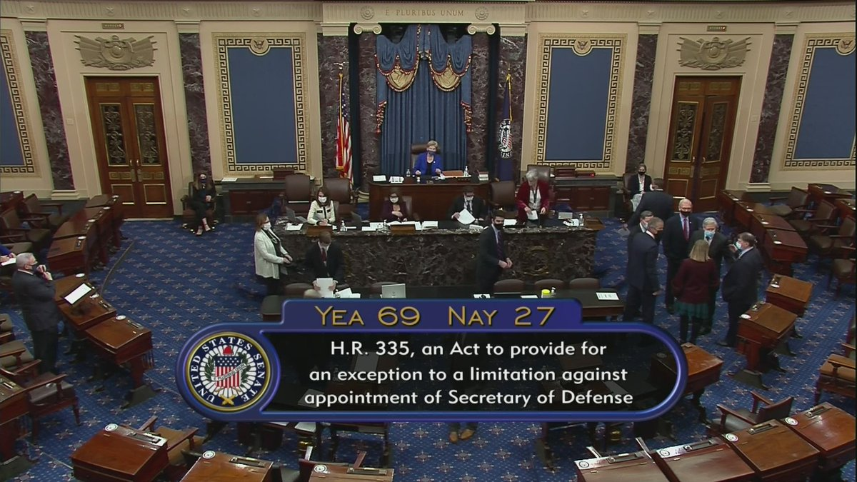 Replying to @cspan: U.S. Senate APPROVES waiver for Secretary of Defense Nominee General Lloyd Austin (Ret.), 69-27.