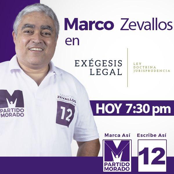 A las 7:30 estaré en Exégesis Legal conversando sobre el #MarcoLegal que impulsaré desde el Congreso para solucionar los principales problemas que sufren día a día las limeñas y limeños. Nos vemos!  #MarcoPorLima #M12