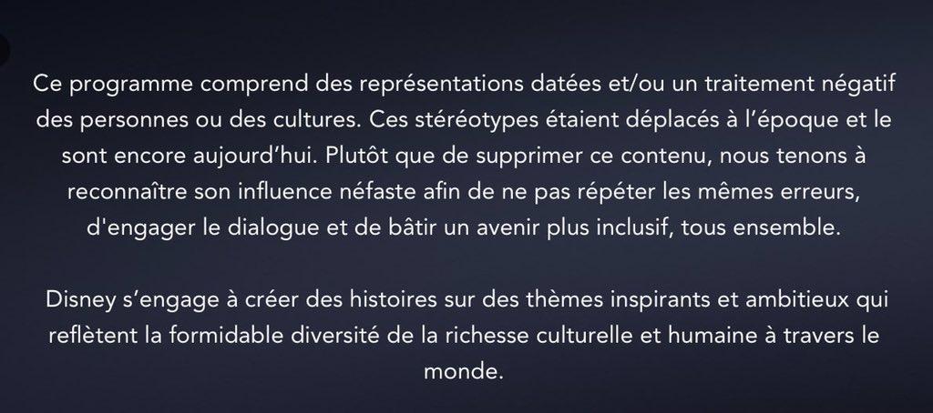 🎥 FLASH - #Disney affiche désormais un message d'avertissement au début de ses anciens dessins animés dont une ou plusieurs scènes sont jugées #racistes. (BFMTV)