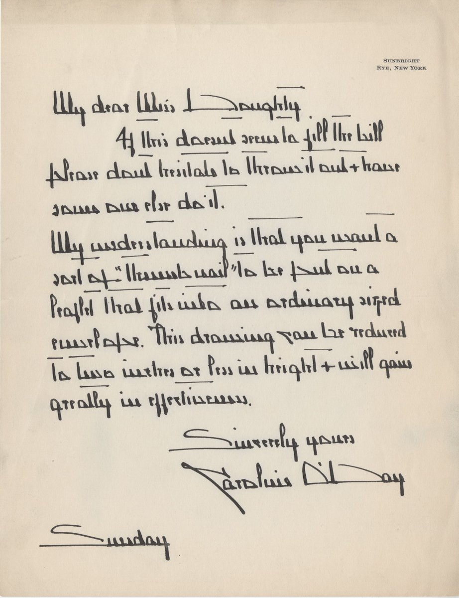 Can anyone decipher this? Using it in lesson plan for 1st year students on artists' correspondence to illustrate handwriting as art form. Letter from artist Caroline O'Day accompanied portrait of early @TheNewSchool  anthropologist Alexander Goldenweiser.