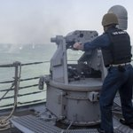 Image for the Tweet beginning: Sailors shoot a 50-caliber machine