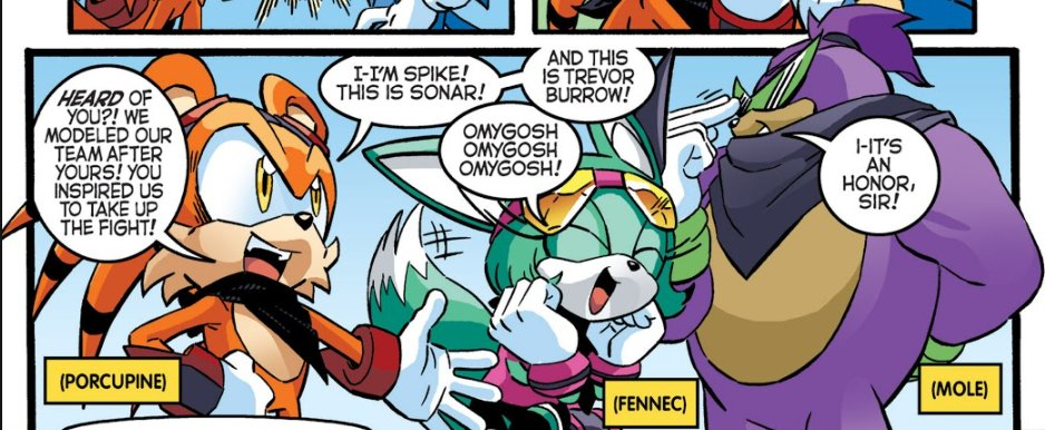 was reminded that the Archie comic had a team based on the Boom interpretations of Sonic Tails and Knuckles  and the mole had Kamina's glasses because of course the mole had Kamina's glasses https://t.co/cqOwLpY3qM