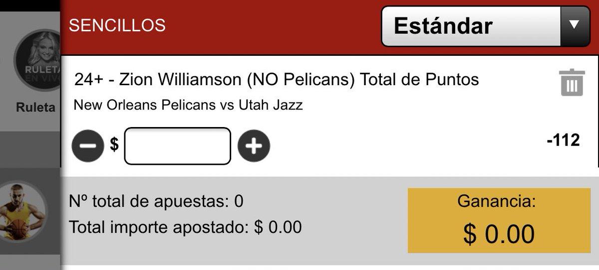 #FREEPICK #PickForYou  #NBA  Zion Williamson 24 o más puntos  -112  #WontBowDown https://t.co/AOGAOa5Ln3