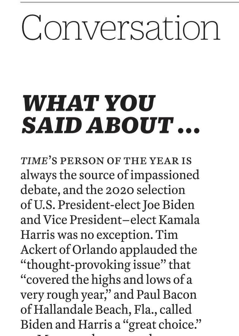 """For the very first time, I have a Letter to the Editor in TIME Magazine. In the Jan. 18-25 issue, I told them that selecting @JoeBiden and @KamalaHarris as TIME's #PersonoftheYear was a """"great choice."""" They were both elected President & VP, respectively. #TIMEPOY"""