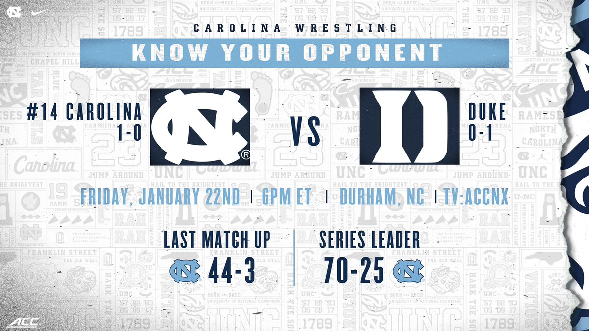 Excited to be back tomorrow night in Durham!   #GoHeels | #WeWantMore
