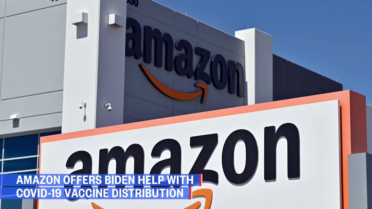 Amazon offers Biden help with Covid-19 vaccine distribution and say it has agreements in place to administer vaccines at its facilities.   But, the White House has not responded yet.   @DylanByers reports.  Watch NOW:
