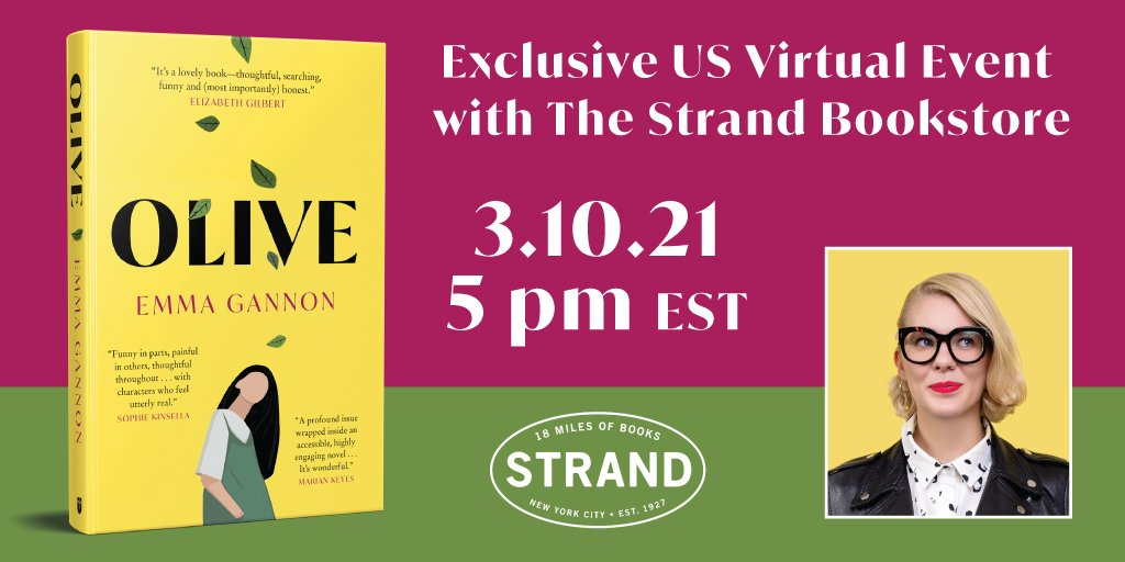 🇺🇸 I'm doing a one-off virtual event in March for my US launch of OLIVE with New York's iconic @strandbookstore 🇺🇸 Please tell your US based friends. Signed copies for first come first served! So excited to bring OLIVE to America (virtually, but still)! https://t.co/mmiAoMDsgq https://t.co/l3Z5eL61uu