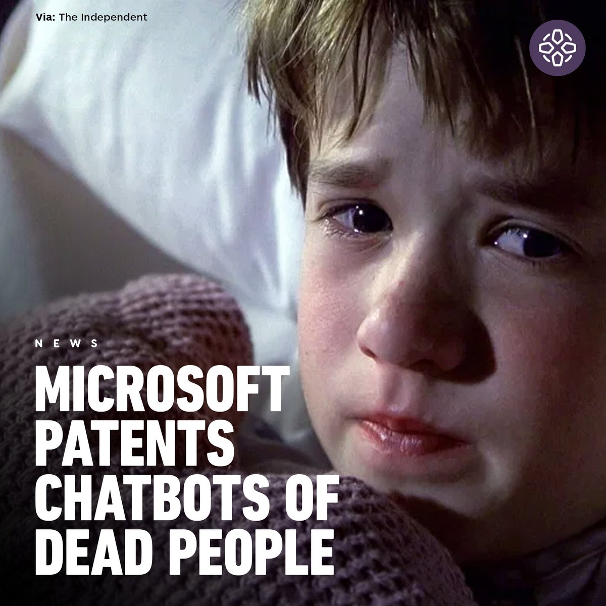 "Microsoft has filed a patent that would allow the company to digitally revive deceased loved ones as chatbots, using the individual's ""images, voice data, social media posts, electronic messages"" and more. 💀"