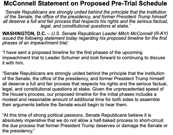 McConnell's plan would be to delay the trial into February and give Trump's team essentially two weeks to prepare. In the interim, the Senate could move ahead with nominees and other business. That's why Dems will review this closely.