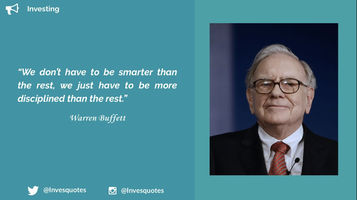 In investing EQ beats IQ 99% of the time.  Discipline will beat your emotions and this will give you a significant edge over the rest.   #WarrenBuffett #Quote #Investing