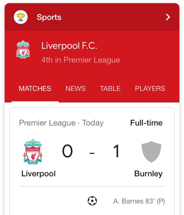 imagine losing your 4 year unbeaten home record to a club that doesn't have their badge sorted on google yet 😭😭  #LIVBUR