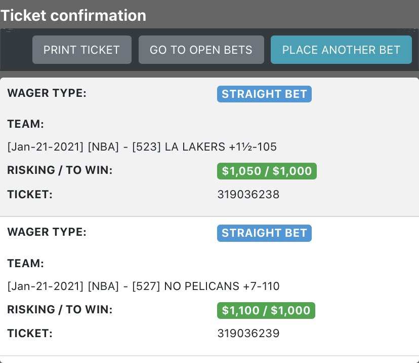Nice little win yesterday as we went 3-2 on $1k #FREEPLAY. Today, we are backing another 2 #NBA underdogs. It's the #LakeShow and the #wontbowdown . Yes,it's scary but I trust both of them will cover #LakeShow +2 #wontbowdown +7 Good luck #GamblingTwitter #NBATwitter  #MBGA 😎 https://t.co/dDjjIaAvfS