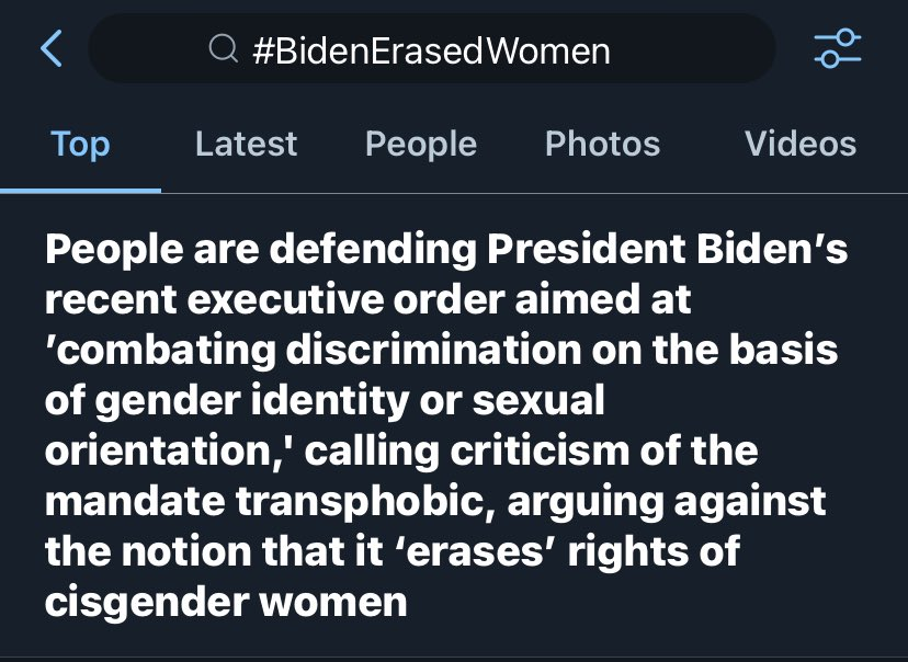 "terfs saying biden erased women's rights with his eo to fight gender-identity or sexual orientation discrimination is the same fucked up logic as white supremacists hollering about ""-but aLL LIVES MATTER"" when talking about the fight for racial justice and blm #BidenErasedWomen"