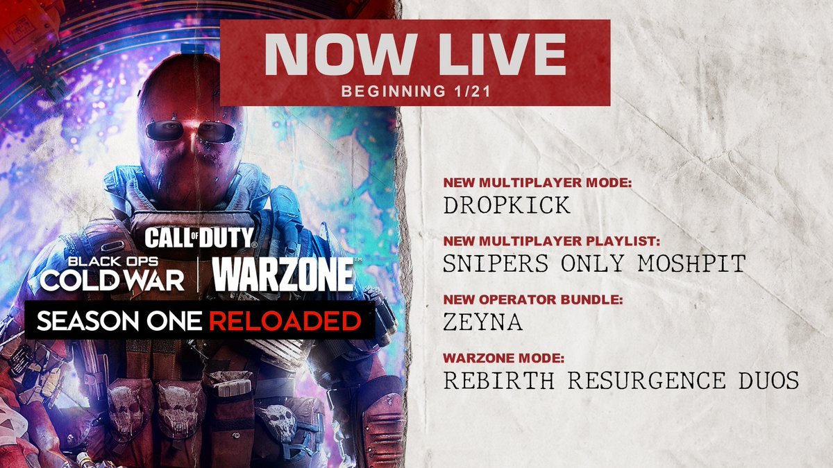 Dropkick, Rebirth Resurgence Duos, and more are live now for #BlackOpsColdWar and #Warzone.