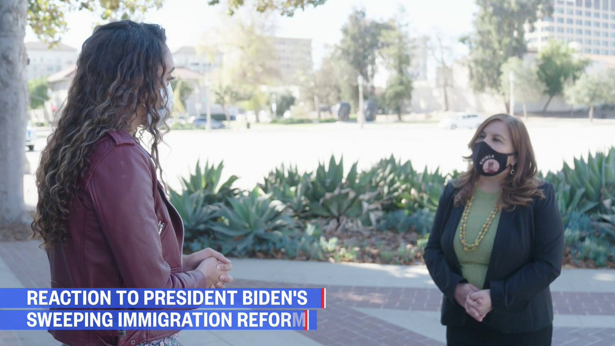 """.@AngelicaCHIRLA: """"This is a moment in which immigrants — look at their children, look at their friends and neighbors, and feel that they can live free.""""   @SimoneBoyce has more on the reaction to Biden's immigration reform proposals.   Watch NOW:"""