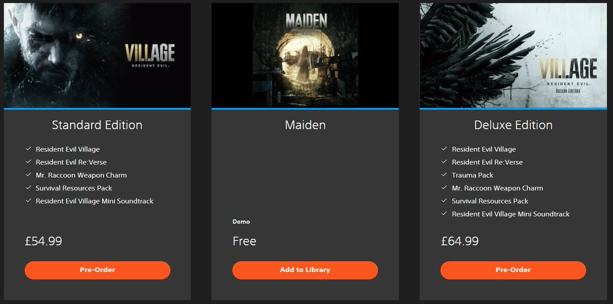 """So it's not #PSVR (yet) but if you want to check out the first PS5 demo of #RE8, titled """"Maiden"""", it's available now on the UK PS Store:"""