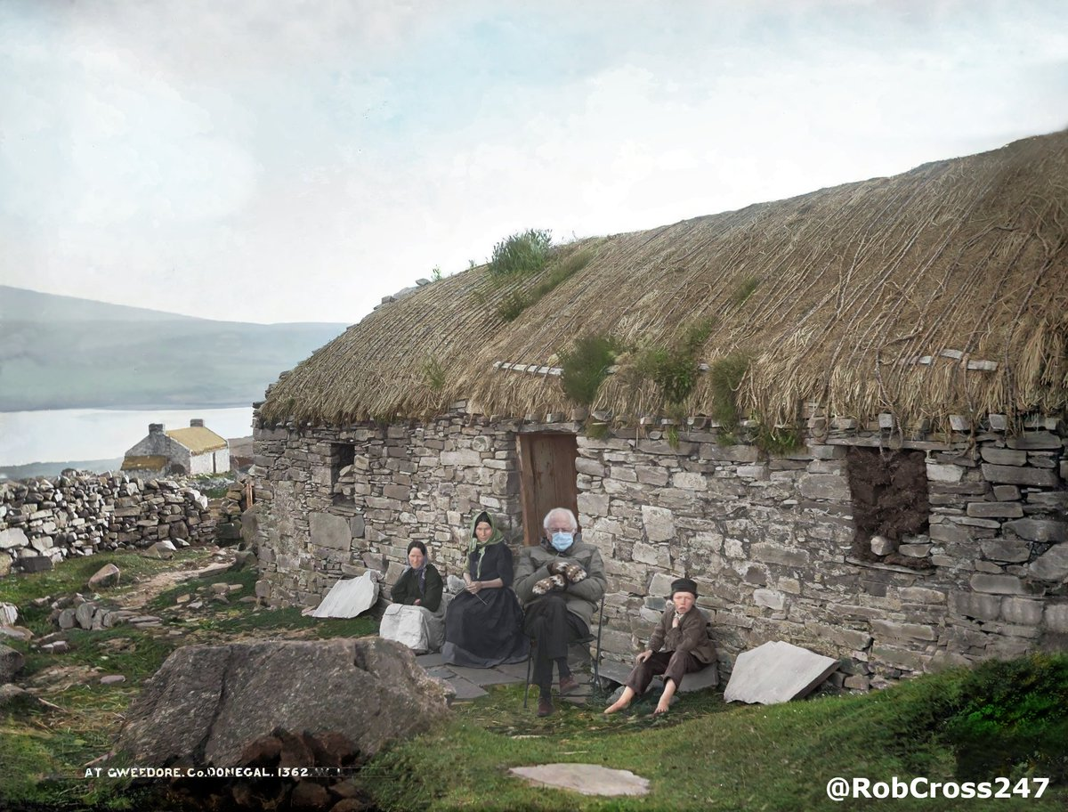 Bringing #Ireland's History to Life. 🇮🇪🇺🇸 My restored and colourised c1890s photo of Gweedore, Co. Donegal featuring Bernie Sanders.😉 #BernieSanders
