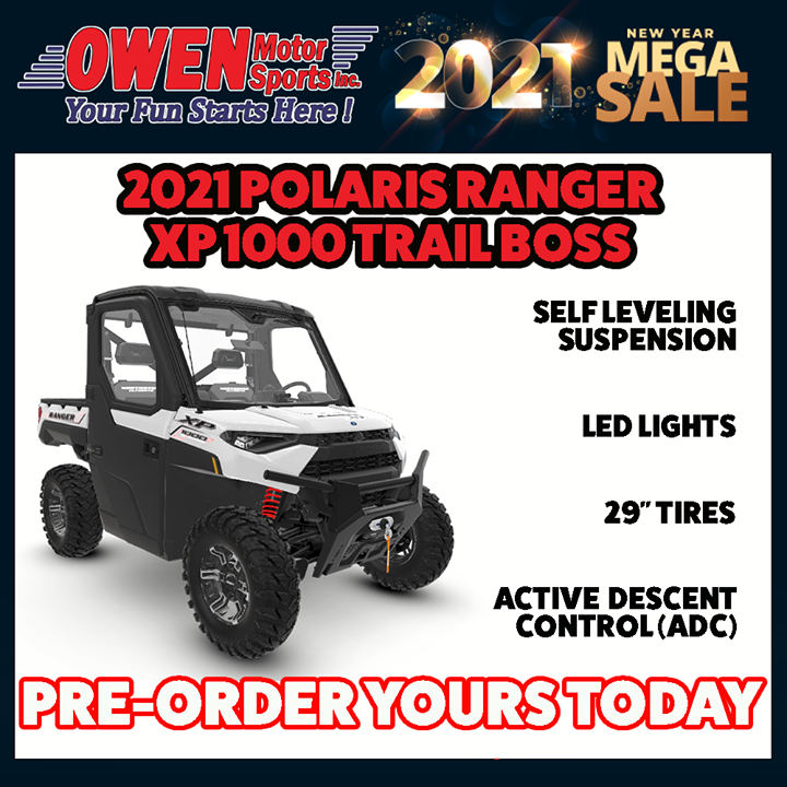 Limited quantities available! Call us at 217-348-5500 (Charleston) or 217-868-2550 (Effingham) to get your pre-order 2021 Polaris Ranger XP Trail Boss ordered today! This is an opportunity you don't want to miss. Owen Motor Sports, Your Fun Starts Here!!  #owenmotorsports #p…