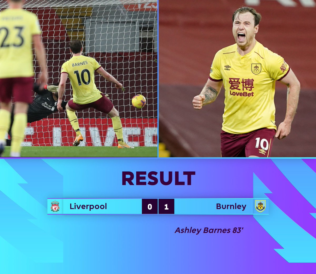 Liverpool suffer their first defeat in 68 Premier League matches at Anfield (W55 D13) since April 2017, three years and 273 days ago.  Meanwhile Burnley secure a MASSIVE win for their season‼️  #LIVBUR #PL