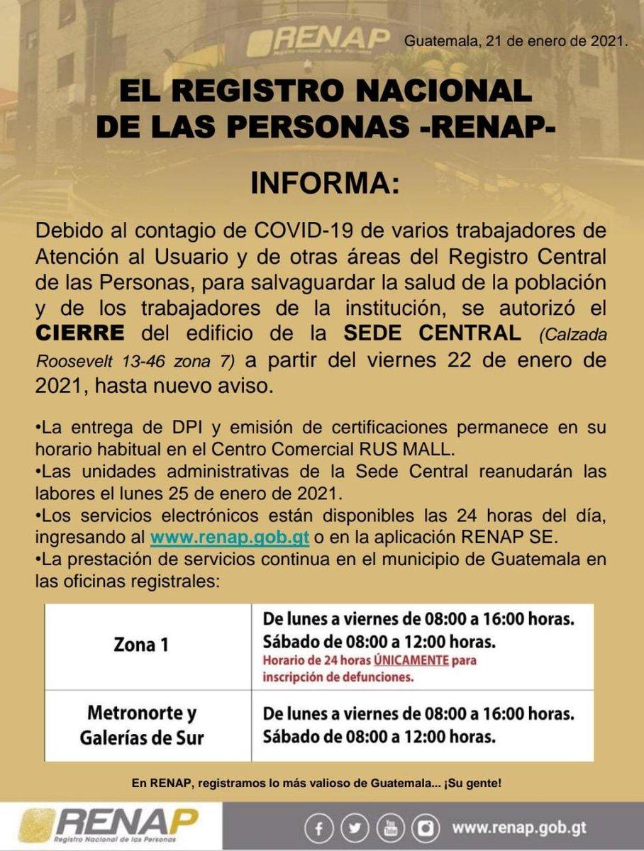 test Twitter Media - El Renap informa del cierre mañana y sábado de sus instalaciones centrales por el contagio de Covid-10 en varios trabajadores. https://t.co/aHXyNyAwrs