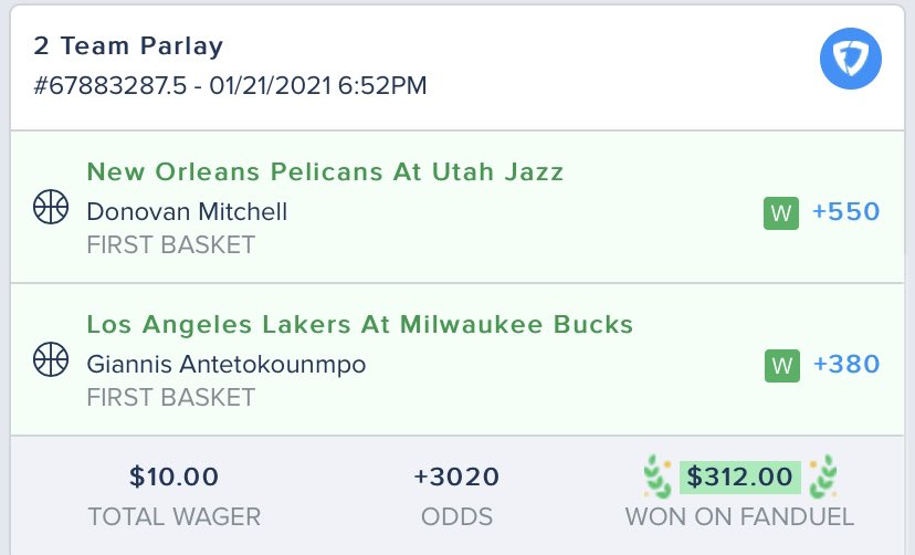 🚨 First Basket Scorer Parlay 🚨  This bettor turned $10 into $312, thanks to Giannis & Spida's first buckets 🕷️  Have a night!  (via @ExplicitQuis)