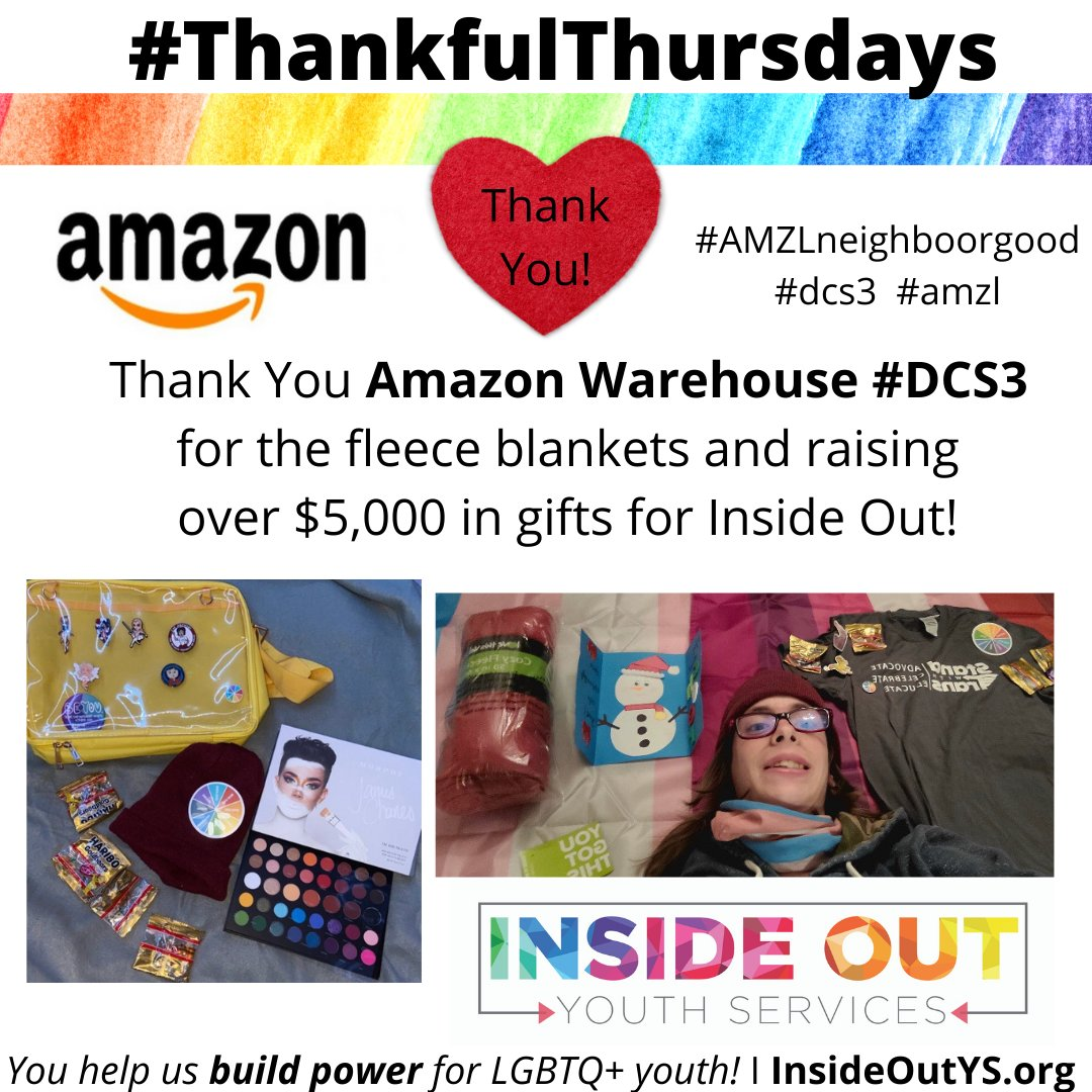 Thank you Amazon Warehouse #DCS3 for donating to Inside Out!  We are so grateful to y'all for the generous donation of fleece blankets to keep our young #LGBTQ+ people warm. Your gifts are truly life-saving! #AMZLneighboorgood  #amzl #thankfulthursdays #thankful #thankfulthursday