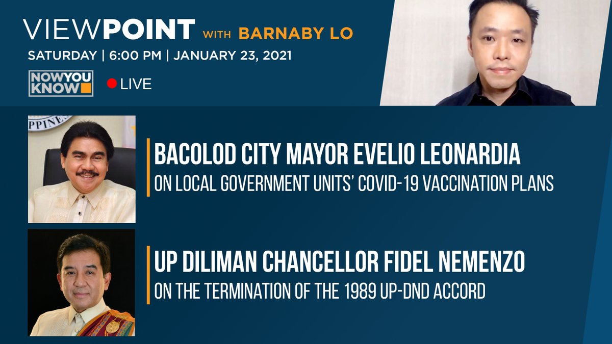 This Saturday on #Viewpoint   @barnabychuck speaks with LCP President and Bacolod City Mayor Evelio Bing Leonardia on LGUs COVID vaccination plans, to be followed by a discussion on the termination of the 1989 UP-DND Accord with UP Diliman Chancellor Fidel Nemenzo.