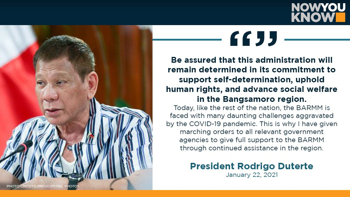 President Duterte renewed his administration's commitment to the Bangsamoro Autonomous Region in Muslim Mindanao (BARMM), ordering relevant government offices to extend assistance to the new region amid the COVID-19 pandemic. READ: bit.ly/3c1LeFy 📰 Manila Bulletin